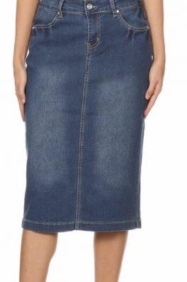 Denim Pencil Skirt Indigo Wash