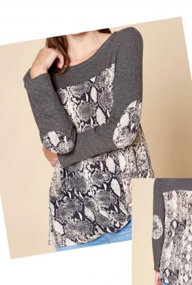 Snake print knit top