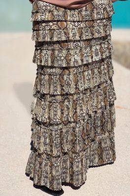 Taupe Snake Pleated Eleganza Skirt