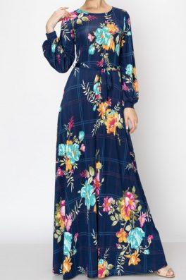 Navy Window Pane Floral Long Maxi Dress