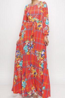 Coral Window Pane Floral Long Maxi Dress