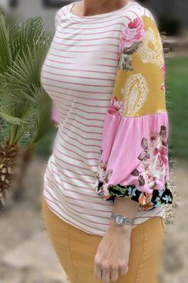 Mauve Stripe Contrast Sleeve Top