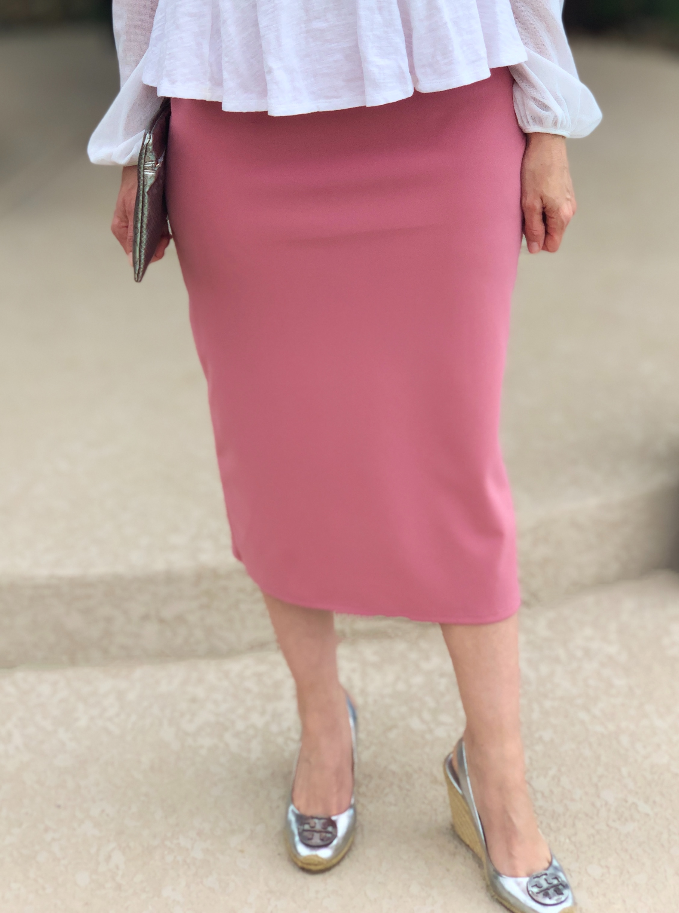 Blush modest pencil skirt