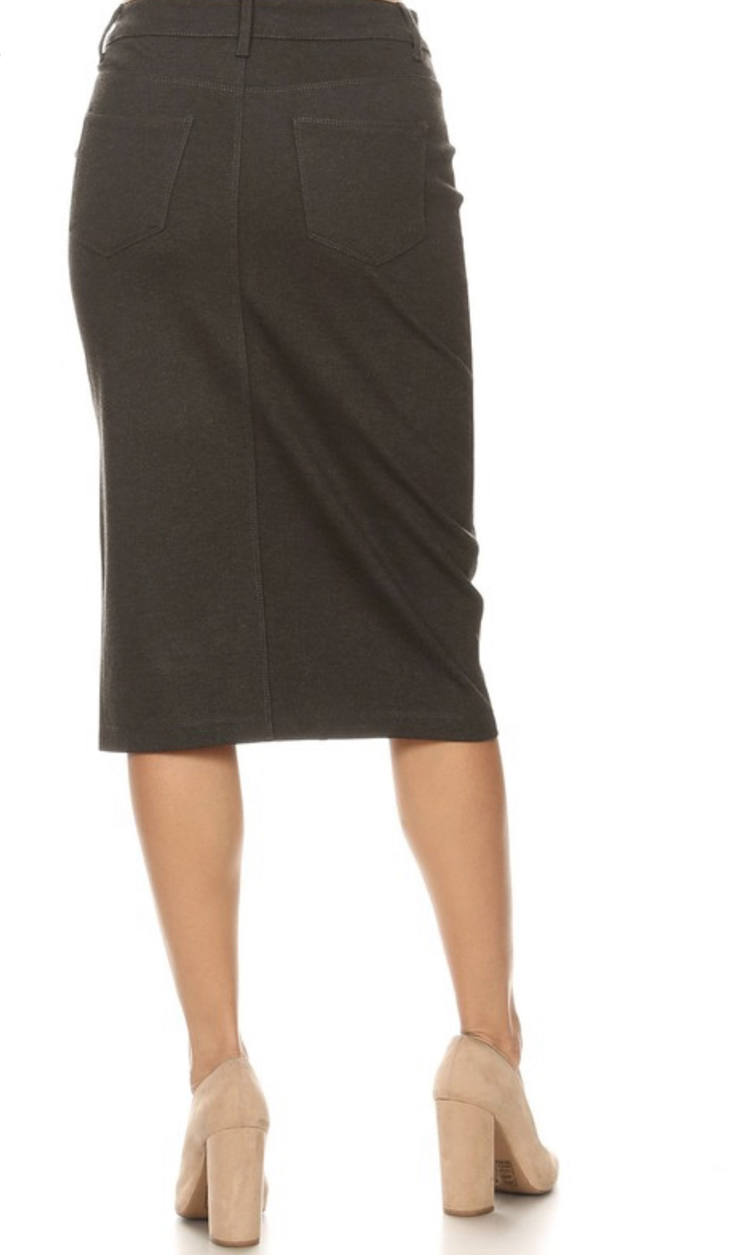 Heathers Gray twill stretch pencil skirt