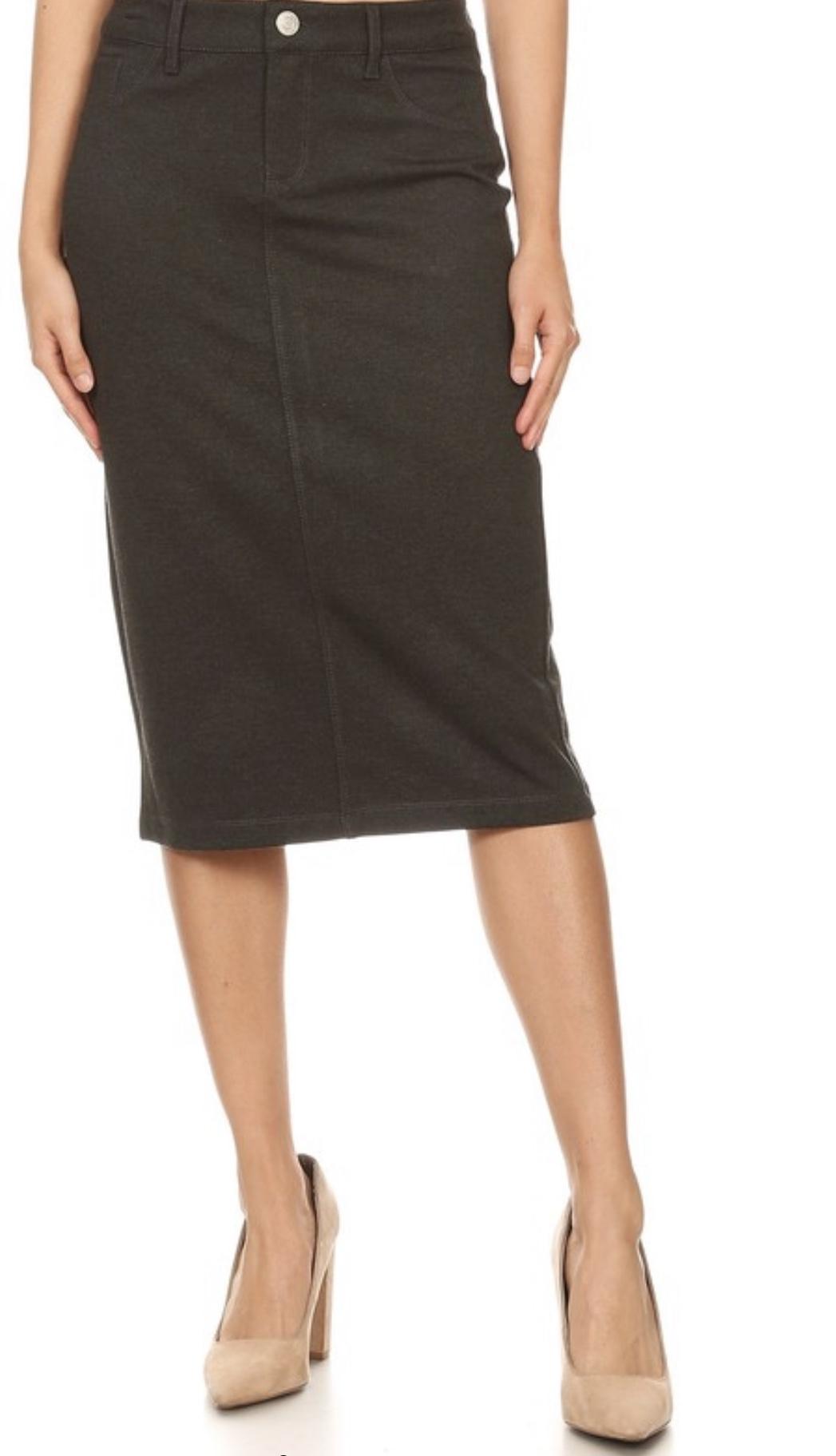 Heather Gray twill stretch pencil skirt