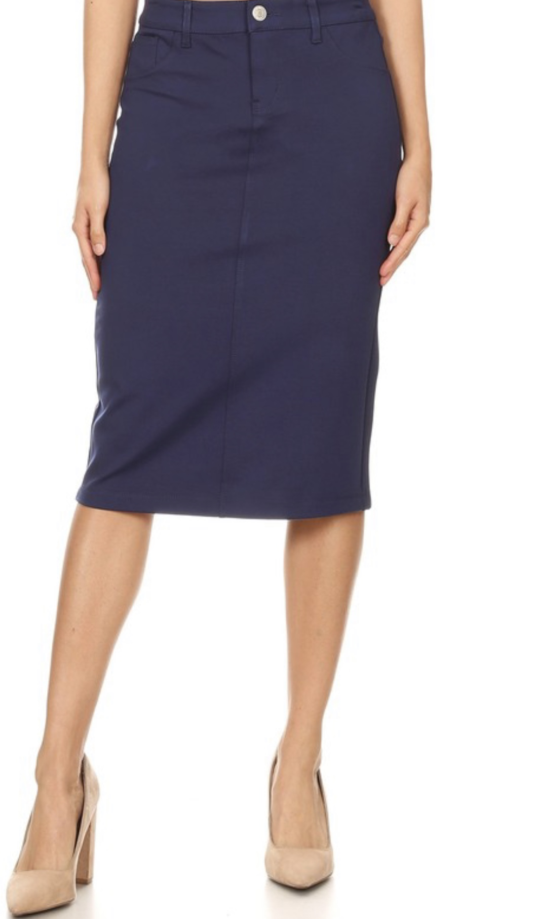 Navy twill stretch pencil skirt