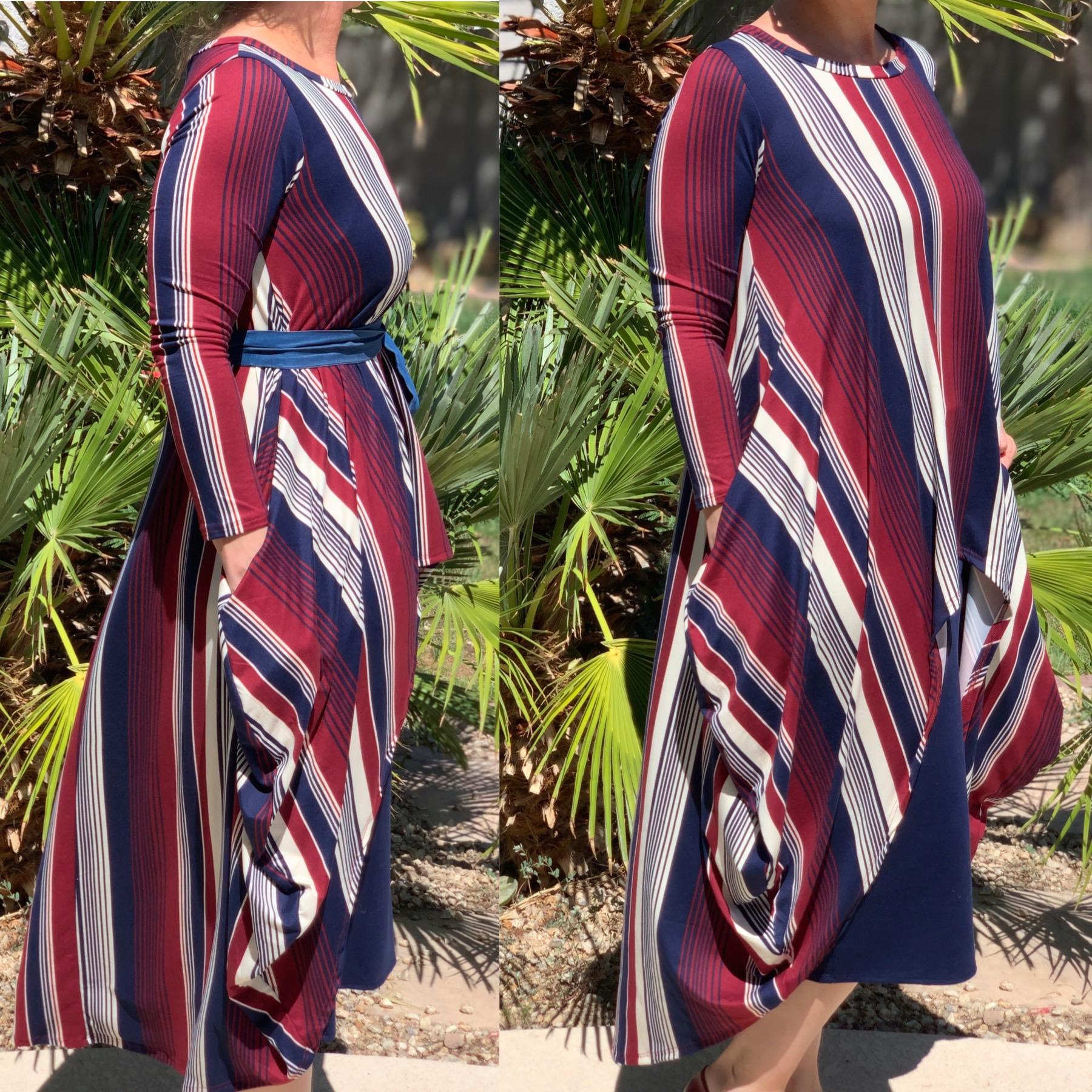 Stripe hi low pocket tunic top