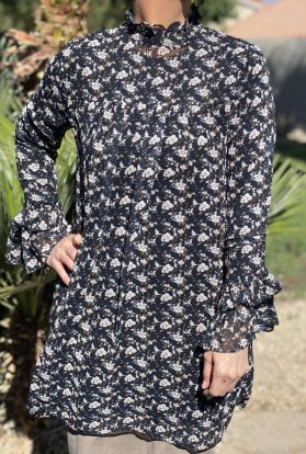 Navy floral baby doll tunic dress