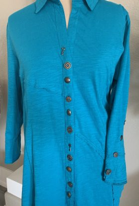 Turquoise button down tunic