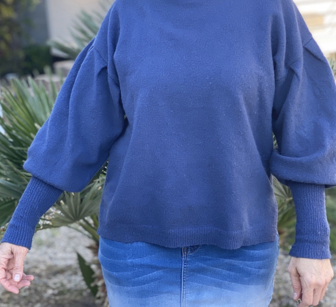Soft Blue Sweater Drop Sleeves