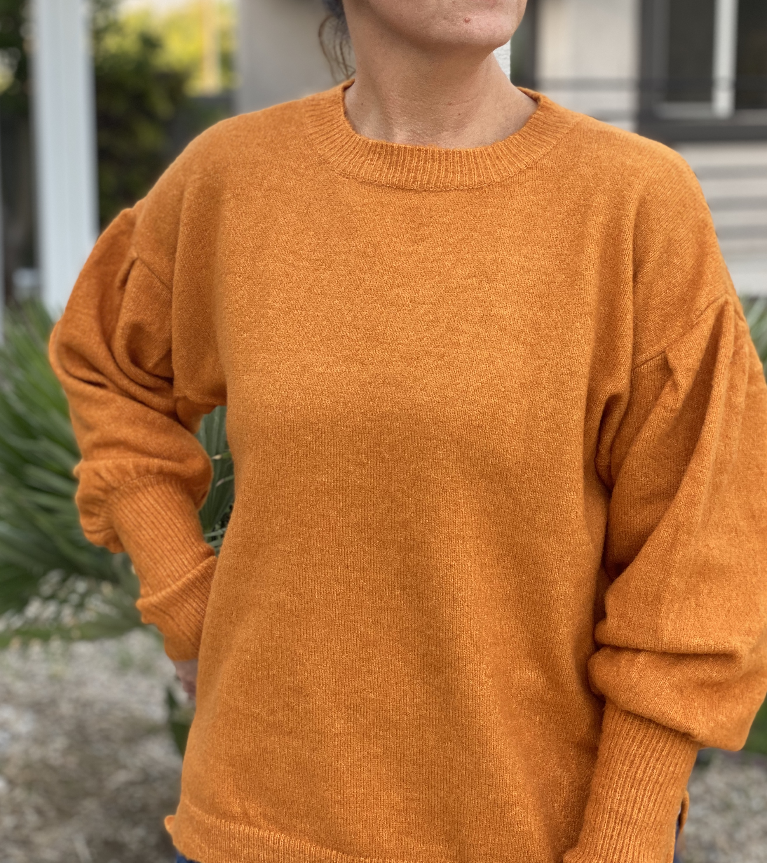 Pumpkin Sweater dropped sleeves