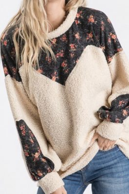 Sherpa Teddy Floral Sweater Cream