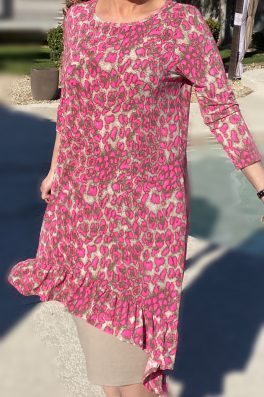 Pink Cheetah Hi Low Ruffle Tunic