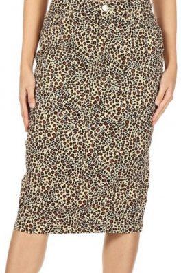 Leopard Stretch Twill Skirt