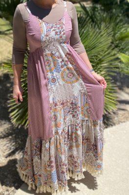 Mauve Tassel Bohemian Maxi Dress