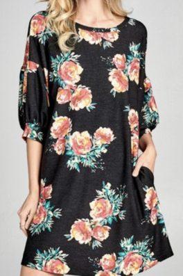 Black Floral Pocket Tunic