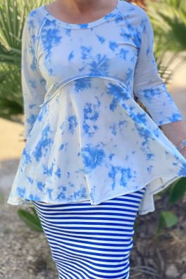 Tie Dye Blue High Low Tunic