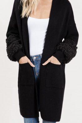 Black Sweater Duster Cardigan