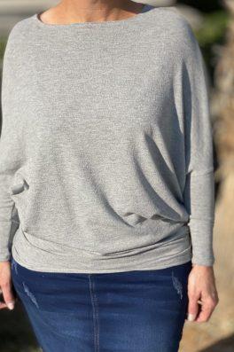 Gray Dolman Tunic Top