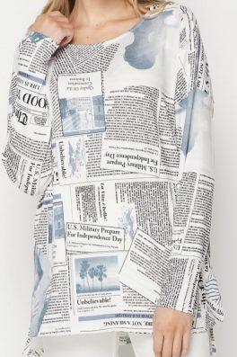 News Print Tunic Top