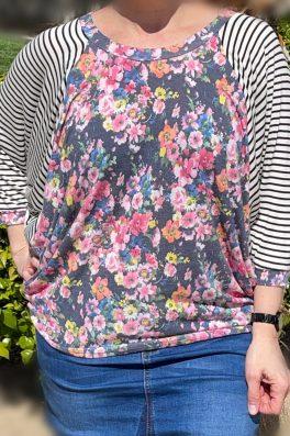 Floral Stripe Patchwork Top