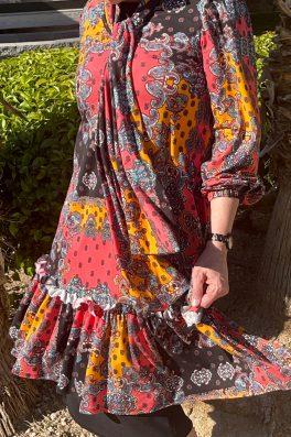 Summer Print Dress With Neck Tie