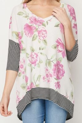 Two Tone Floral Stripe Top