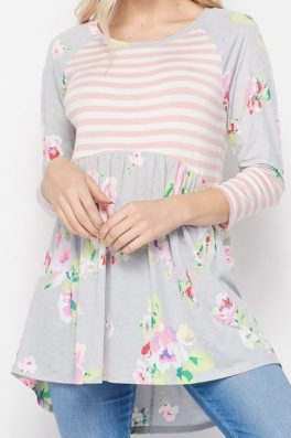 Pastel Floral Stripe Babydoll Hi Low Tunic