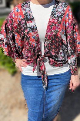 Black Floral Kimono Ruffle Sleeves
