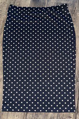 Polka Dot Ponti Modest Pencil Skirt