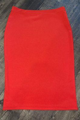 Tomato Orange Luxe Modest Pencil Skirt