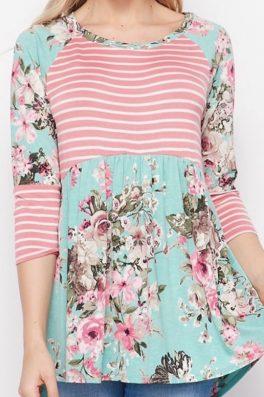 Summer Floral Stripe Babydoll Hi Low Tunic