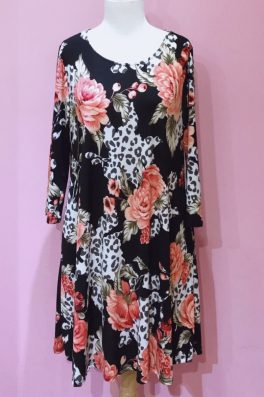 Leopard Floral Tunic Dress