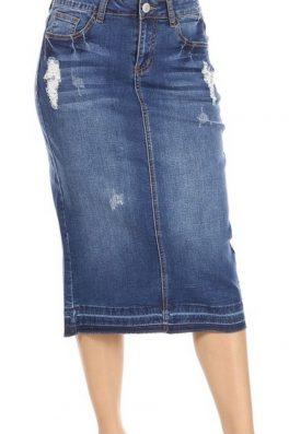 Distressed Stretch Twill Skirt