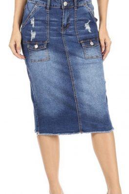 Cargo Pocket Stretch Twill Skirt