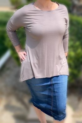 Taupe Basic High Low Tunic