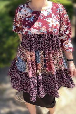 Pink Patchwork Floral Tunic Dress