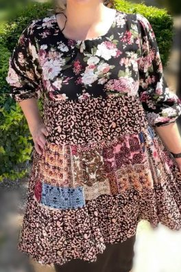 Black Patchwork Floral Tunic Dress