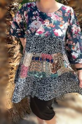 Green Patchwork Floral Tunic Dress