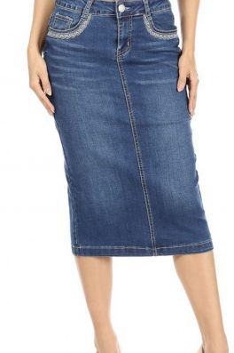Embroidered Stretch Twill Skirt