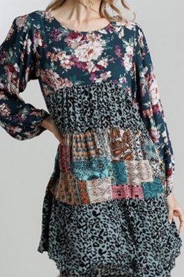 Patchwork Floral Tunic Dress