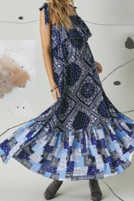 Patchwork Ruffle Maxi Dress