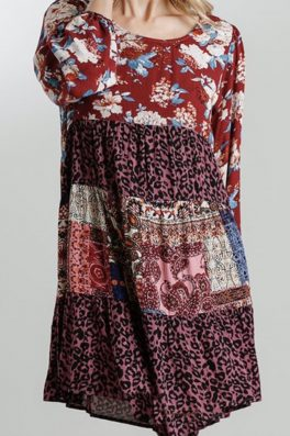 Red Patchwork Floral Tunic Dress