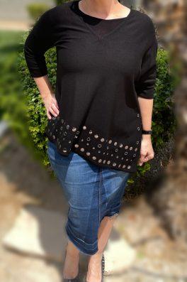 Black Grommet Asymmetrical Tunic