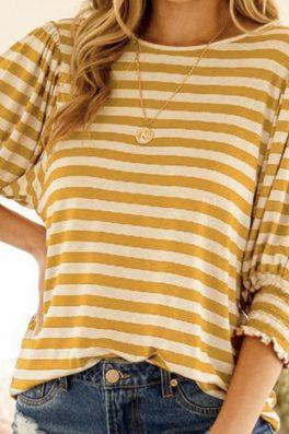 Mustard Stripe Top Smock Sleeves