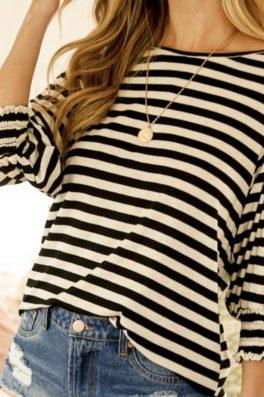 Black Stripe Top Smock Sleeves