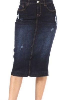 Dark Indigo Stretch Twill Skirt
