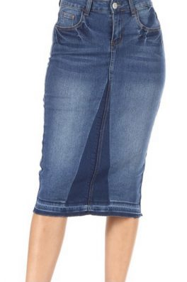 Faded Two Tone Stretch Twill Skirt