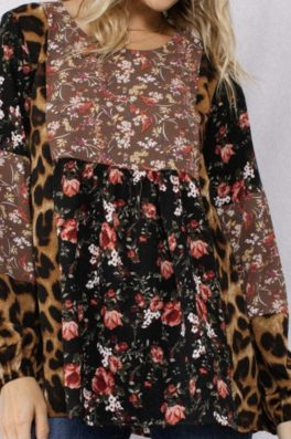 Leopard Fall Floral Swing Top