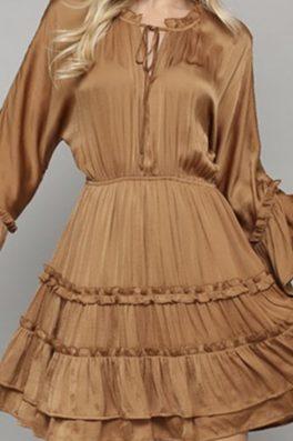 Deep Gold Ruffle Tunic Dress